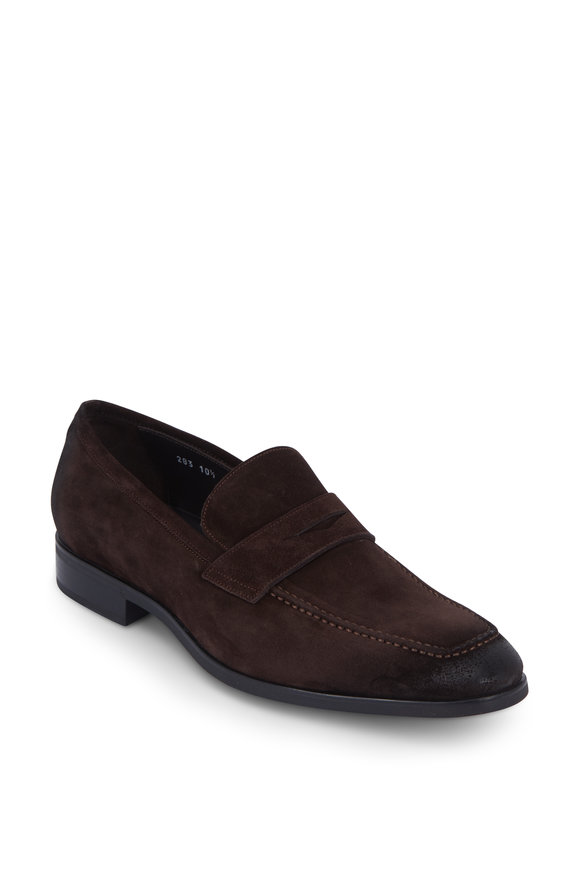Raleigh Dark Brown Suede Penny Loafer