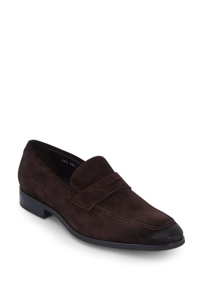To Boot New York - Raleigh Dark Brown Suede Penny Loafer