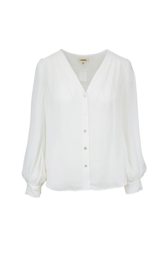 L'Agence Giano Ivory Silk Blouse