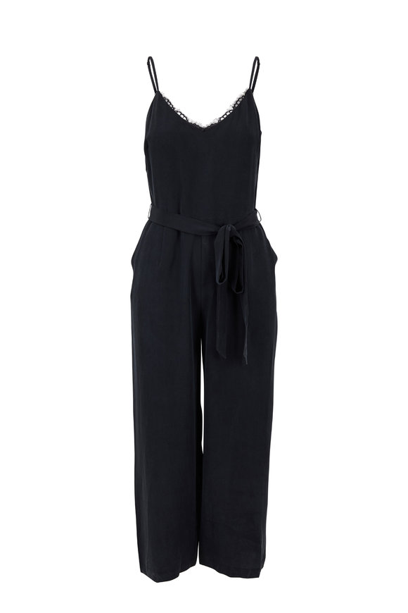 L'Agence Dia Black Silk Sleeveless Jumpsuit