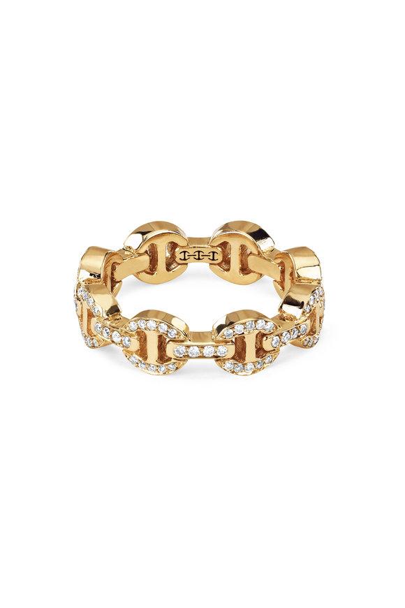 Hoorsenbuhs 18K Yellow Gold Dame Tri-Link Diamond Ring