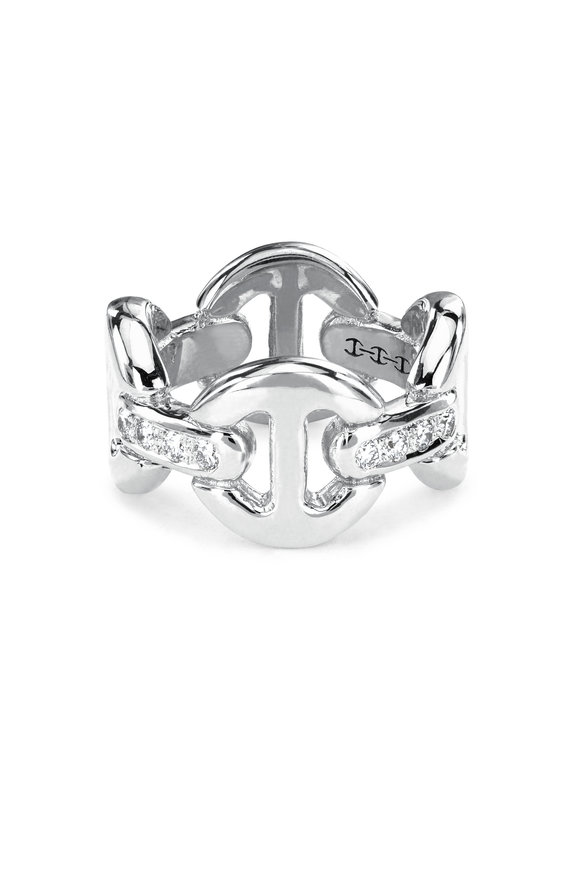 Hoorsenbuhs 18K White Gold Quad Link Diamond Ring