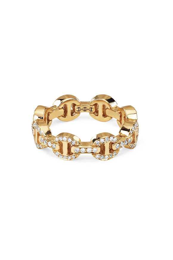 Hoorsenbuhs 18K Yellow Gold Dame Diamond Tri-Link Ring