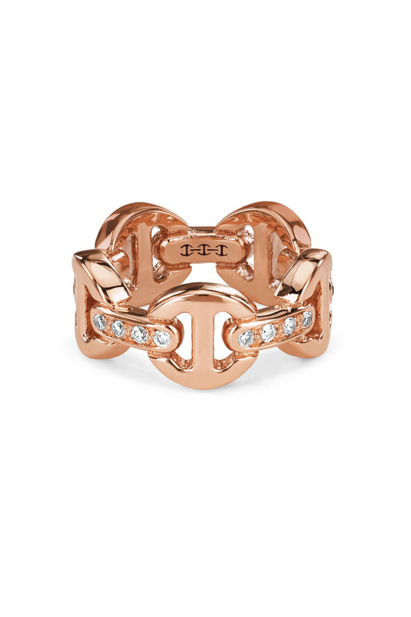 Hoorsenbuhs 18K Rose Gold Dame Classic Tri Link Diamond Ring