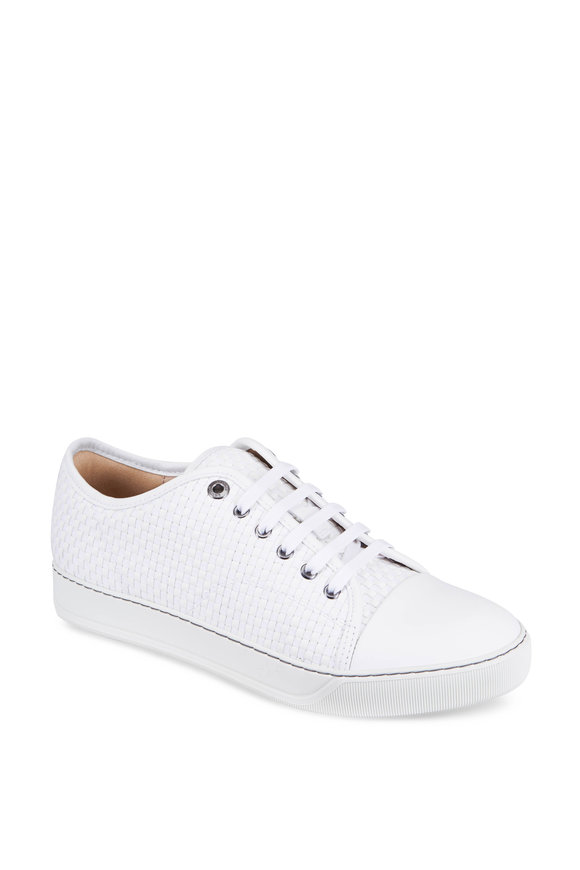 Lanvin White Woven Leather Sneaker