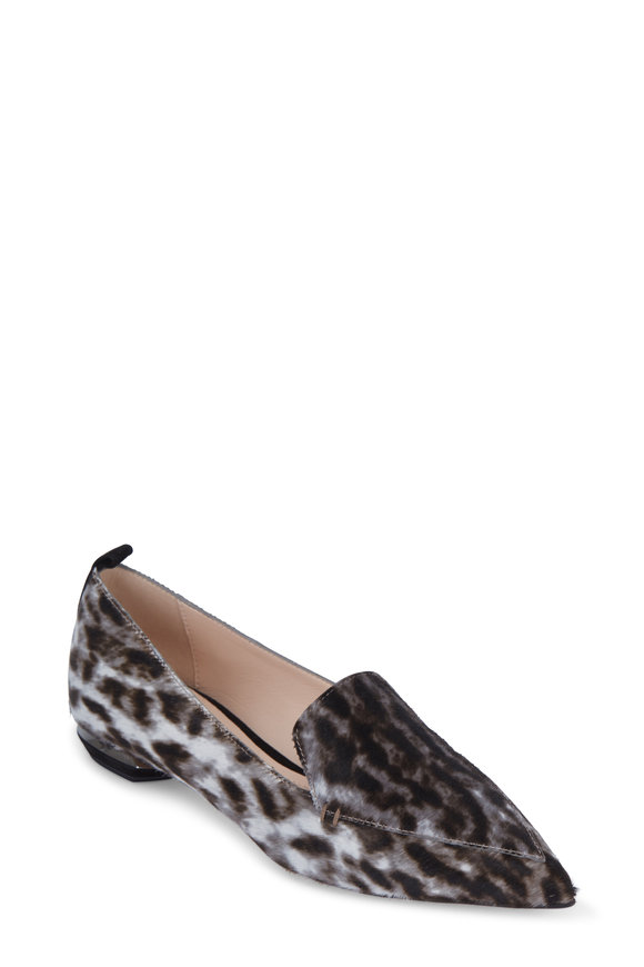 Nicholas Kirkwood Beya Gray Leopard Print Pony Hair Flat