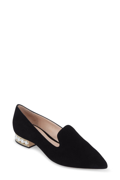 Nicholas Kirkwood - Casati Black Suede Pearl Inset Pointed Loafer