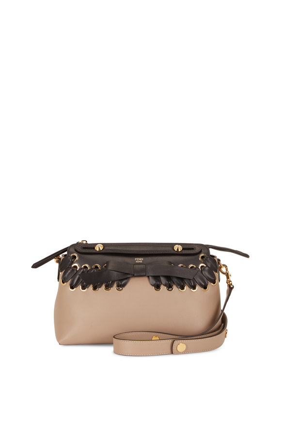 Fendi By The Way Taupe Leather Lace & Bow Bag