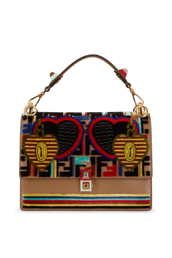 Fendi Kan I Dark Taupe Leather & Jacquard Bag