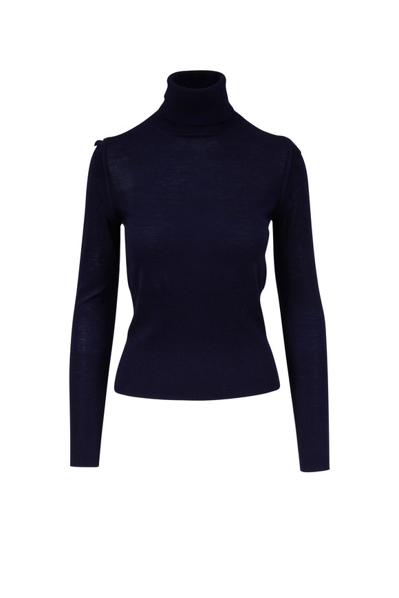Chloé Iconic Navy Scallop Shoulder Turtleneck Sweater