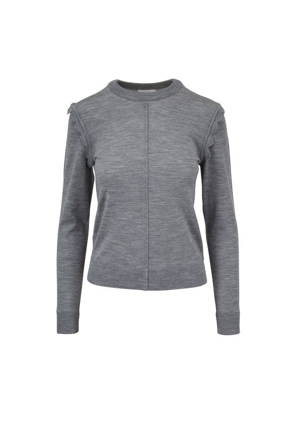 Chloé Radiant Gray Scallop Shoulder Crewneck Sweater