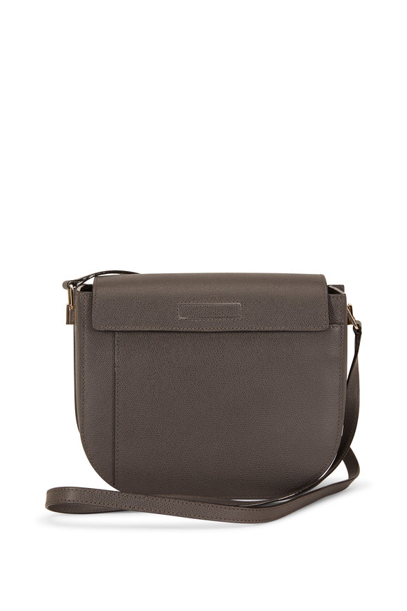 Valextra Twist Dark Gray Saffiano Crossbody Bag