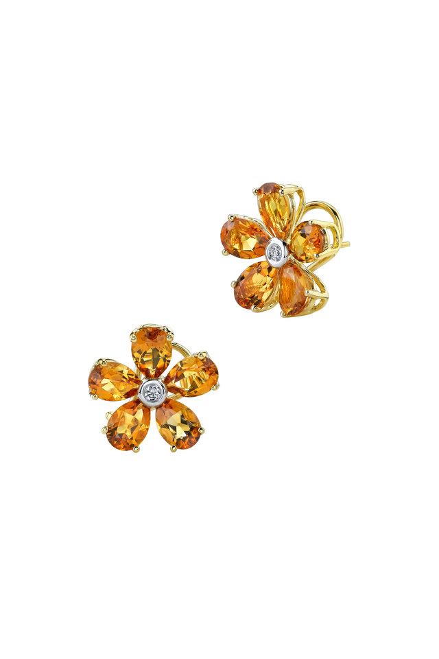 Yellow Gold Citrine Diamond Flower Earrings