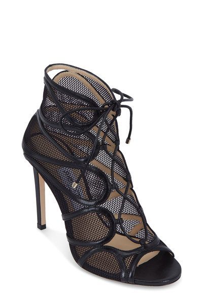 Jimmy Choo - Malena Black Mesh & Leather Lace-Up Bootie, 100mm