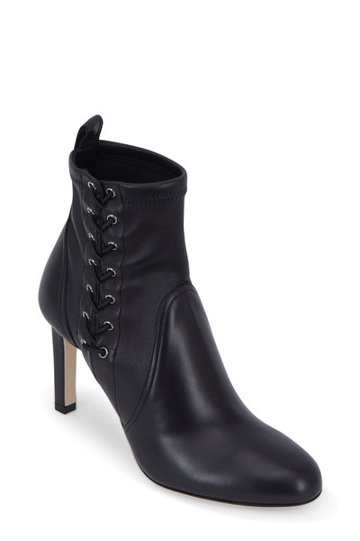 Jimmy Choo - Mallory Black Stretch Leather Lace-Up Bootie, 85mm