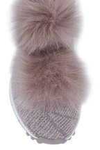 Jimmy Choo - Norway Opal Gray Lurex Knit Fur Pom-Pom Sneaker
