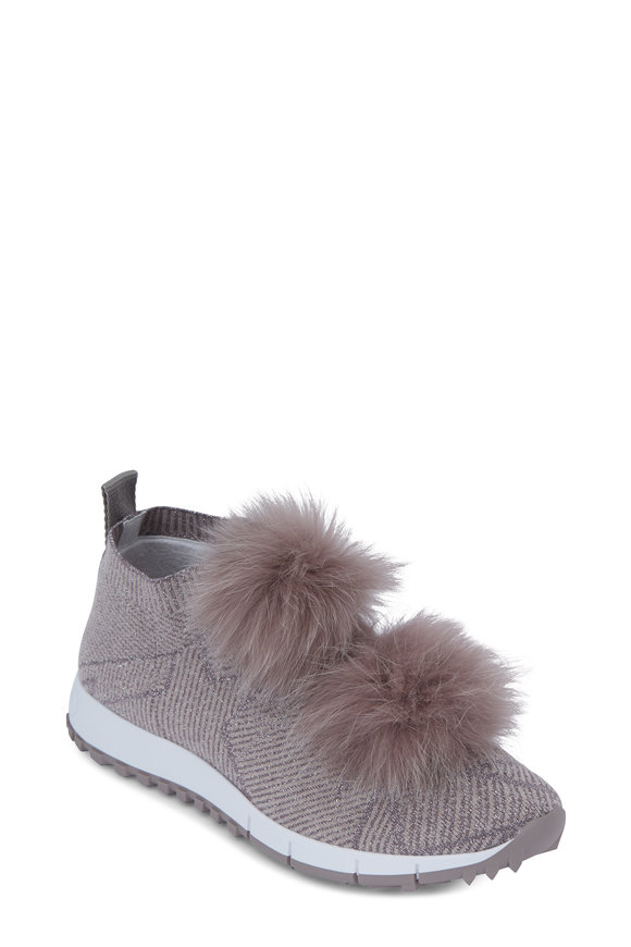 Jimmy Choo Norway Opal Gray Lurex Knit Fur Pom-Pom Sneaker