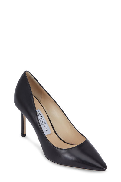 Jimmy Choo - Romy Black Leather Pump, 85mm