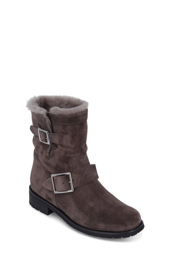 Jimmy Choo Youth Dark Gray Suede & Shearling Ankle Boot