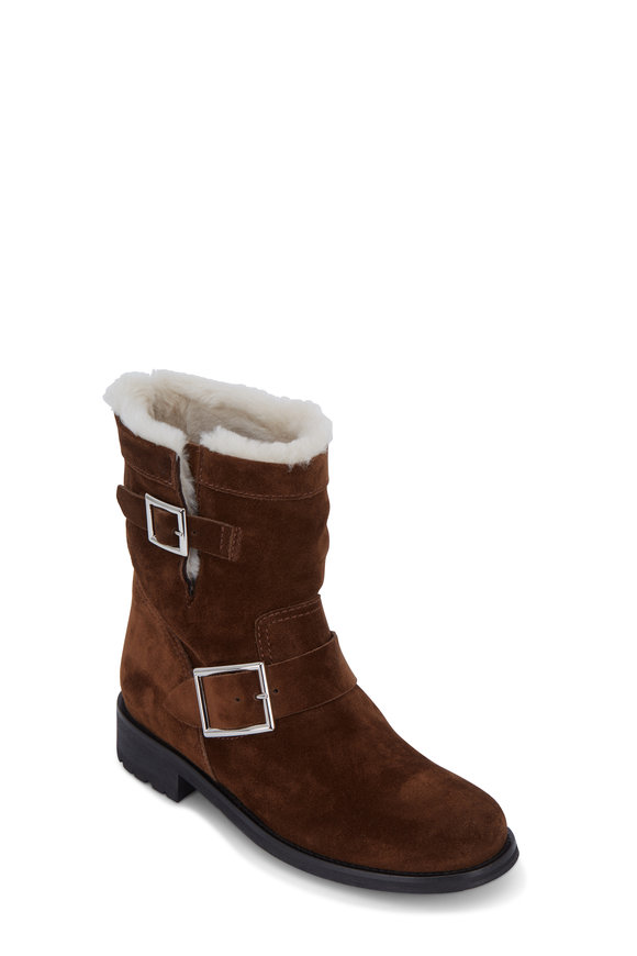 Jimmy Choo Youth Cedar Suede & Shearling Ankle Boot