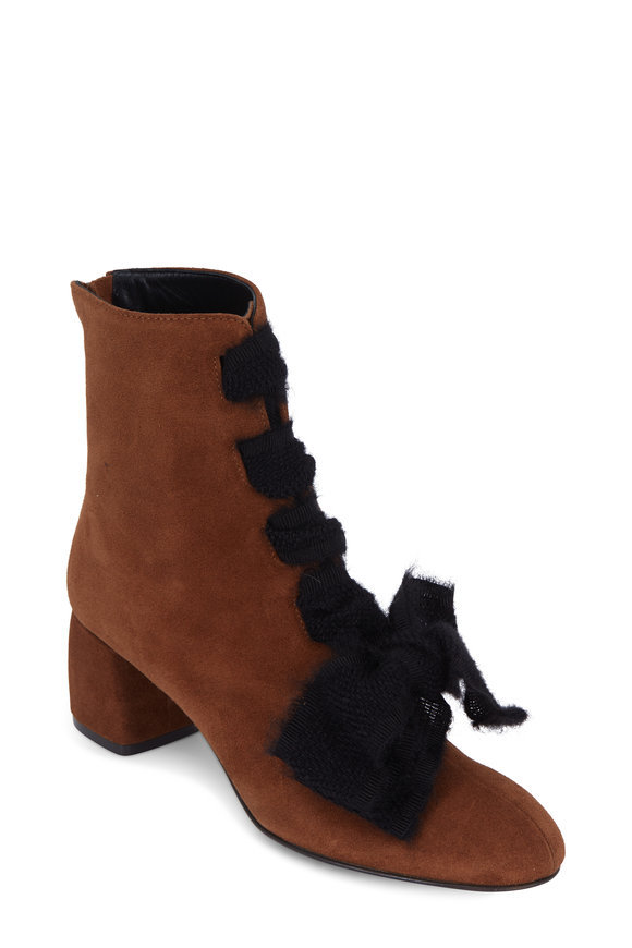 AGL Cognac Suede Lace-Up Front Ankle Boot, 50mm