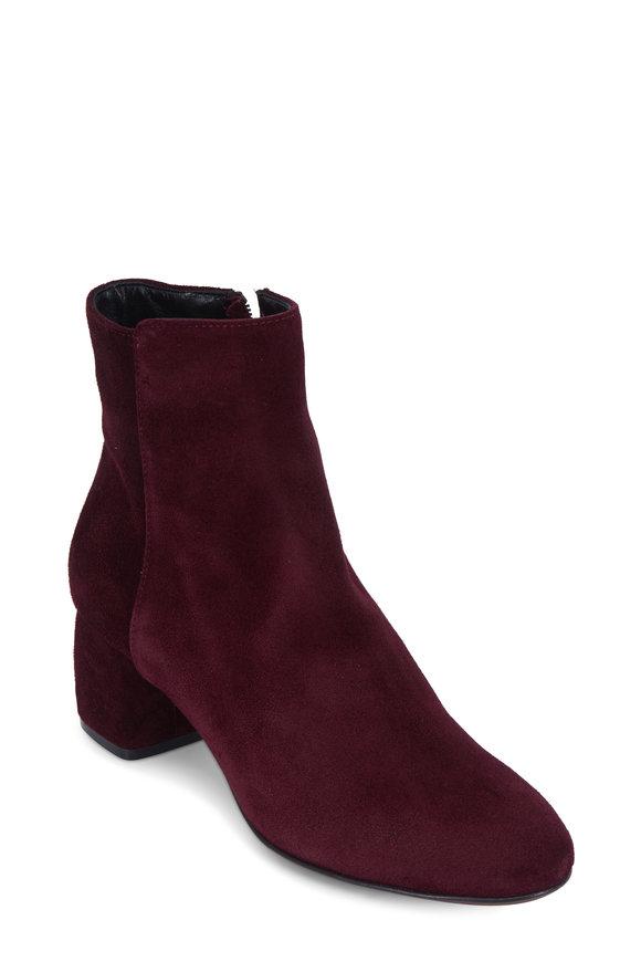 AGL Plum Suede Block Heel Ankle Boot, 50mm