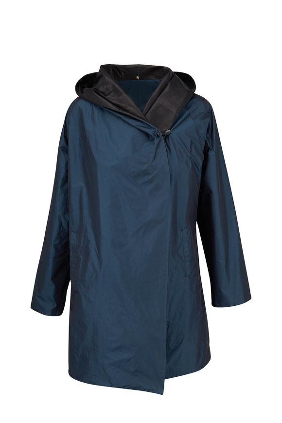 Peter Cohen Blue & Black Leather Trim Coat