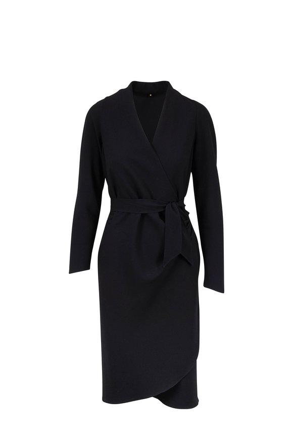 Peter Cohen Black Side Tie V-Neck Dress