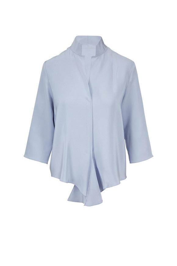 Peter Cohen Chambray Blue Silk V-Neck Top