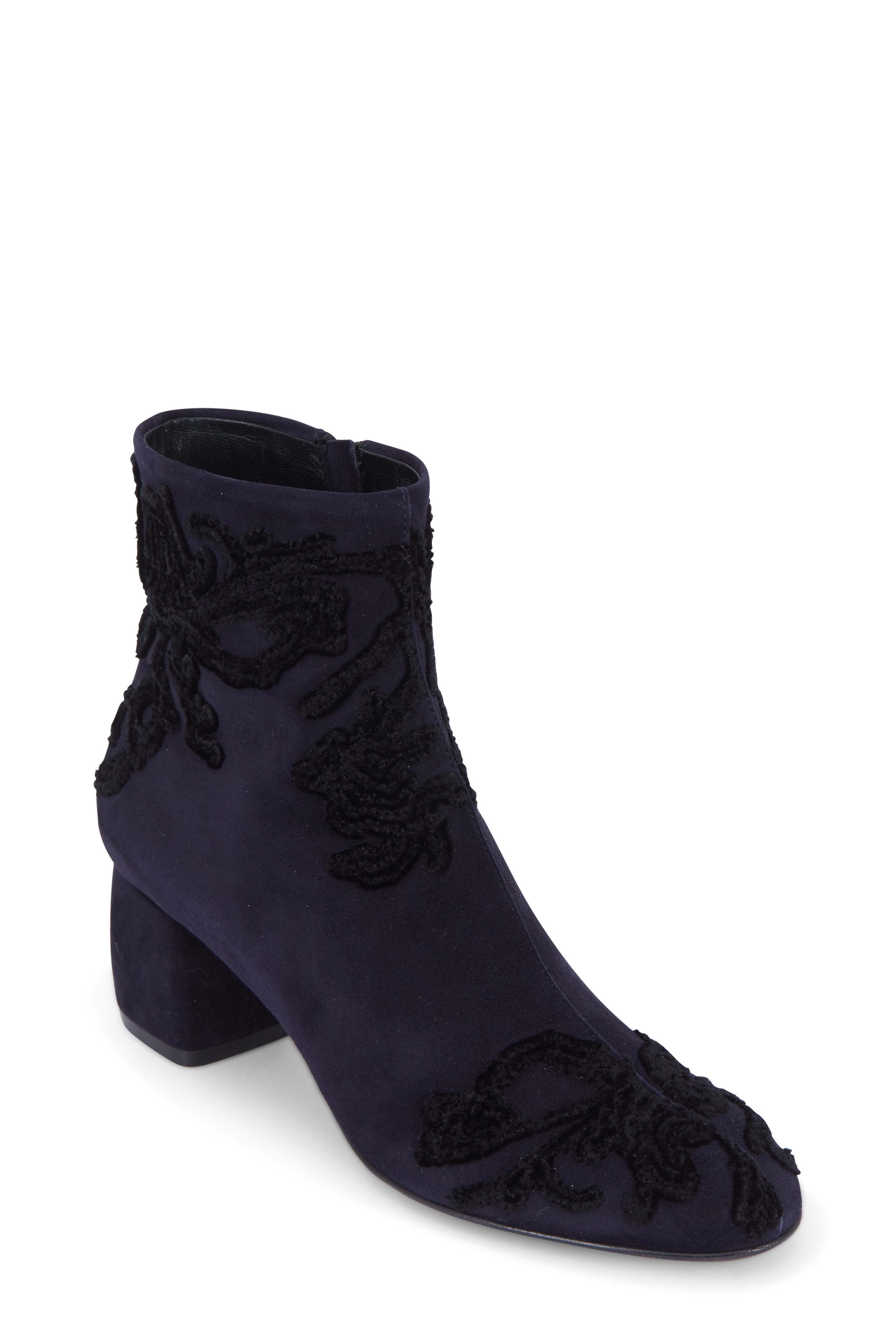 0f82d5c478a AGL - Navy Blue Suede Embroidered Ankle Boot