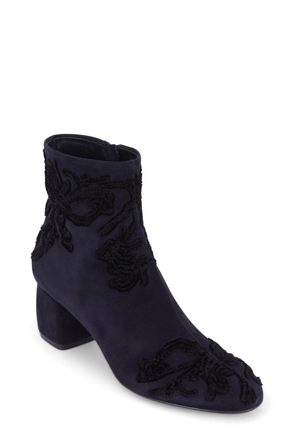 AGL Navy Blue Suede Embroidered Ankle Boot, 50mm