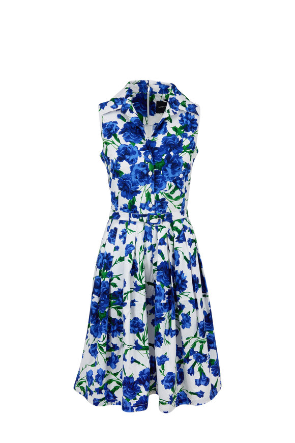 Samantha Sung Claire Blue & White Carnation Printed Dress