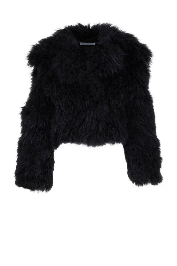 Oscar de la Renta Furs Black Dyed Cashmere Goat Short Jacket