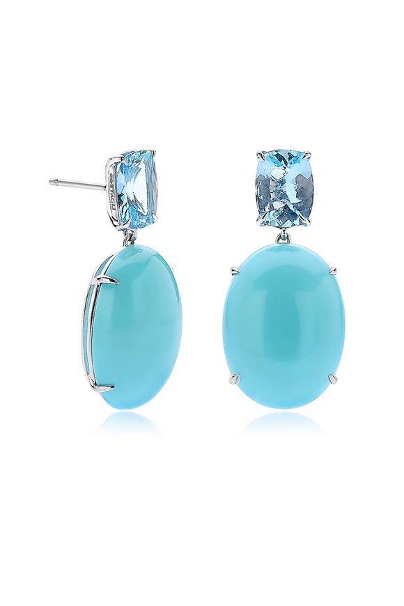 Paolo Costagli 18K White Gold Aquamarine & Turquoise Earrings