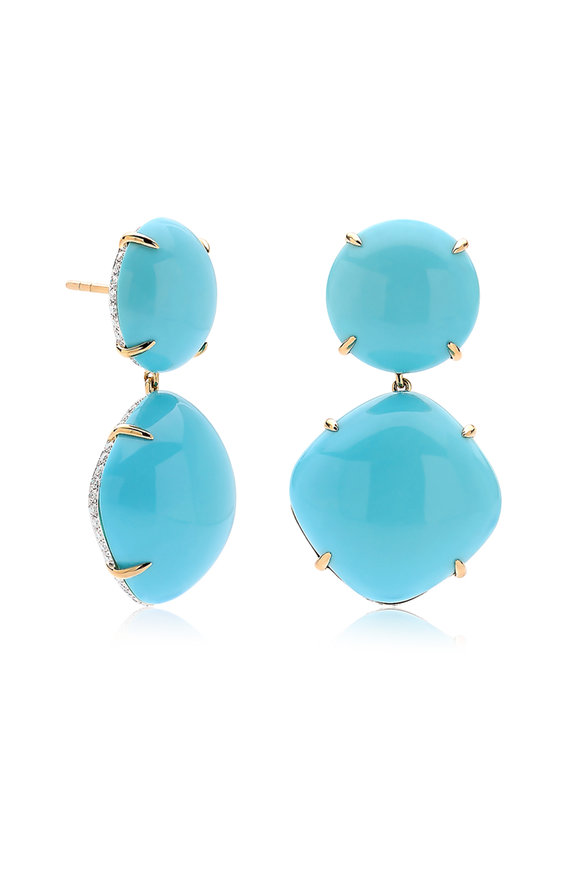 Paolo Costagli 18K Yellow Gold Turquoise Gemstone Earrings