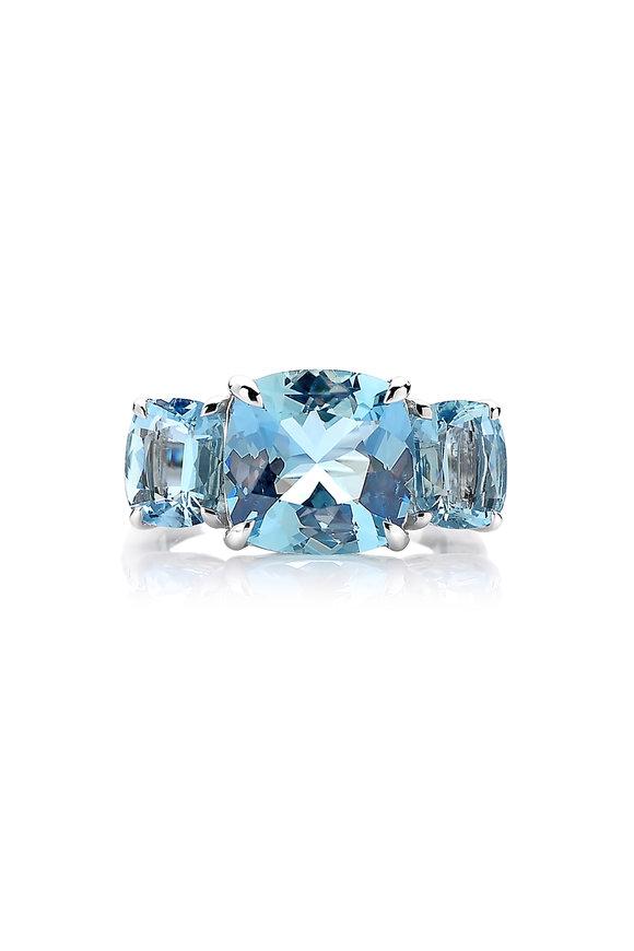 Paolo Costagli 18K White Gold Aquamarine & Diamond Ring
