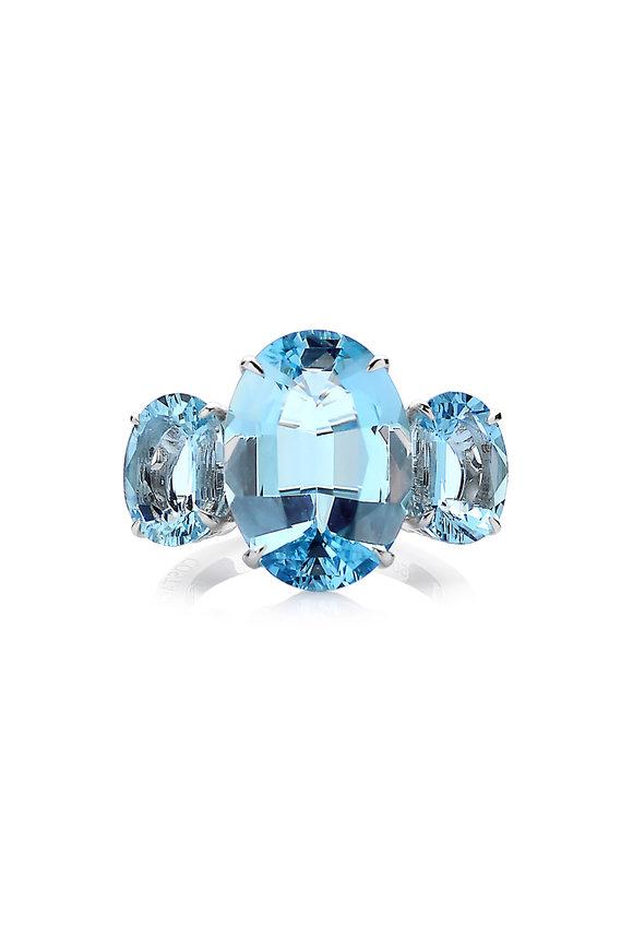 Paolo Costagli 18K White Gold Aquamarine Gemstone Ring