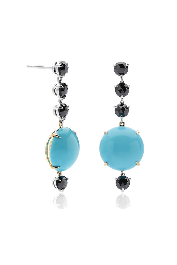 Paolo Costagli 18K White Gold Turquoise & Black Diamond Earrings