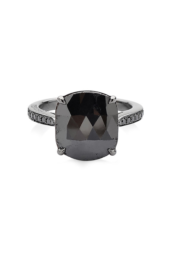 Paolo Costagli 18K White Gold Black Diamond Gemstone Ring