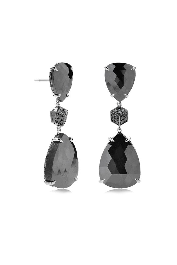 Paolo Costagli 18K White Gold Black Diamond Brillante Earrings