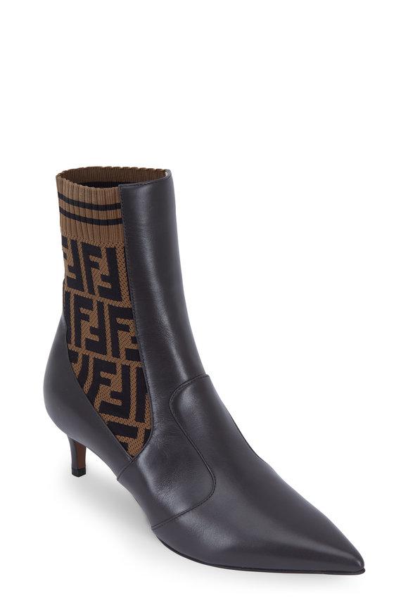 Fendi Rockoko Dark Brown Leather Ankle Boot, 45mm