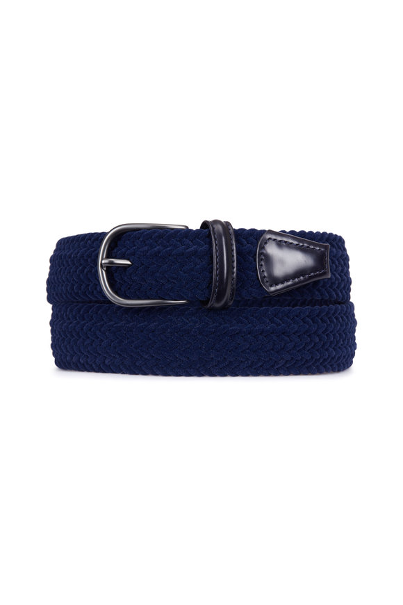 Anderson's Navy Blue Suede Stretch Belt
