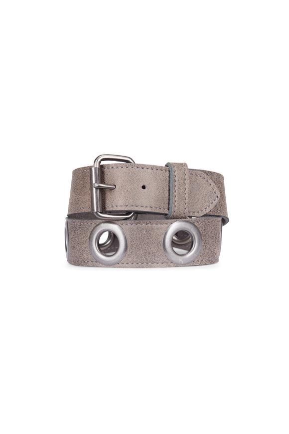Kim White Tan Leather Eyelet Belt