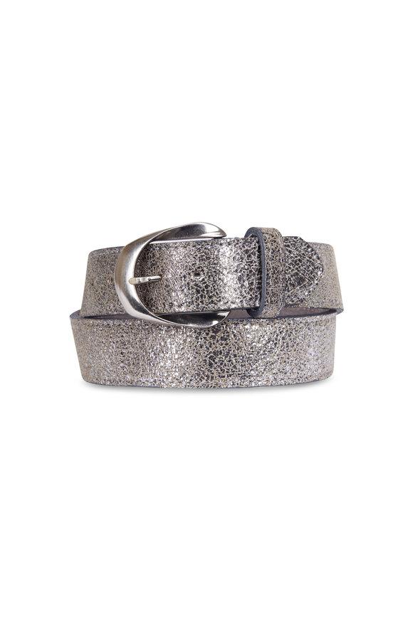 Kim White Silver Metallic Belt