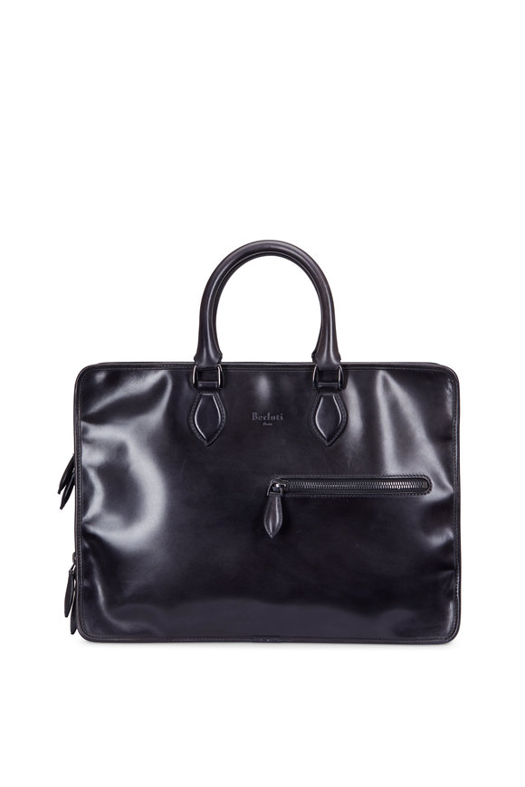 Berluti Deux Jour Calf Leather Black Business Bag