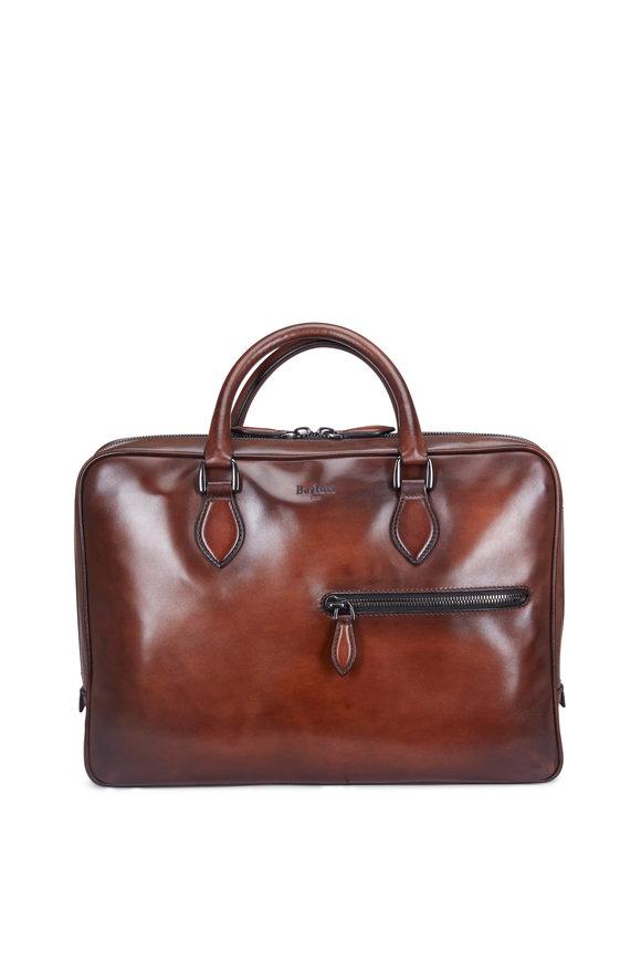Berluti F007 Dark Brown Leather Laptop Case