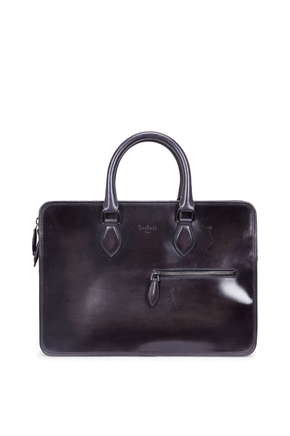 Berluti Un Jour Mini Deep Black Leather Briefcase