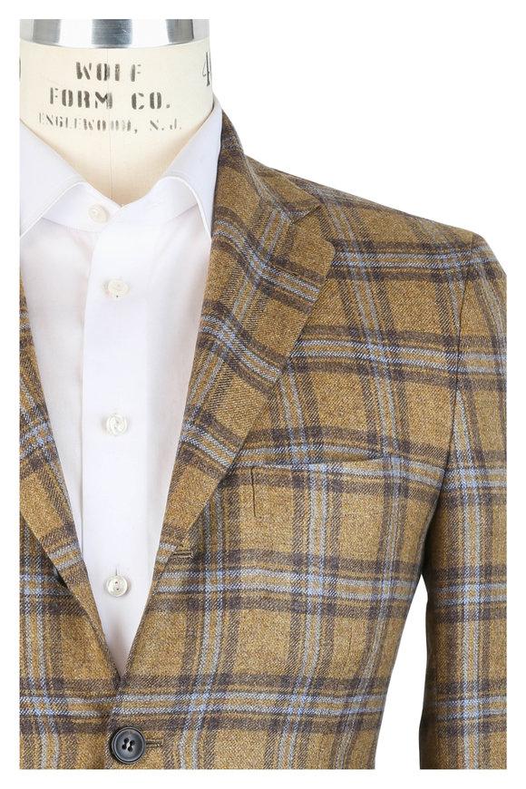 Kiton Mustard Plaid Cashmere, Vicuna & Silk Sportcoat