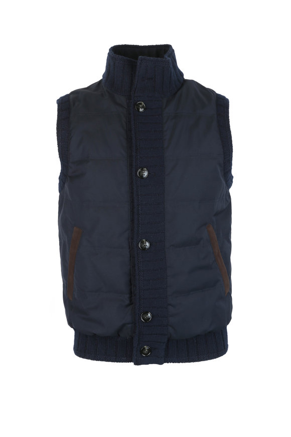 Kiton Navy Blue Wool & Silk Blend Vest