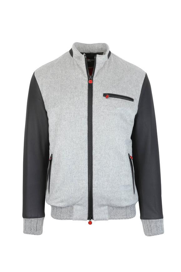 Kiton Stone Leather & Cashmere Blend Varsity Jacket